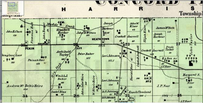 John D. Wilson of Concord Township Ohio - Ed Adams Heritage Champaign County Ohio Map on